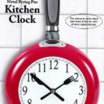 Red Metal Frying Pan Kitchen Clock for Foodies