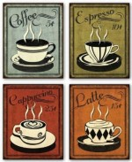 Classy Retro Coffee Art Poster Set for Cooking Buffs