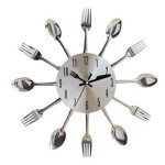 Silver Spoon and Fork Kitchen Wall Clock
