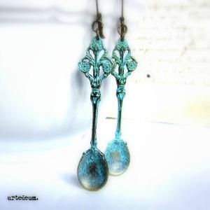 Blue Vintage Spoon Earrings For Women