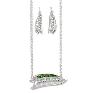 Silver Peas in a Pod Jewelry Set for Cooking Buffs