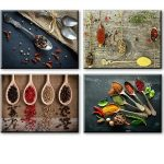 Realistic Spices and Spoons 4 Piece Wall Art Set