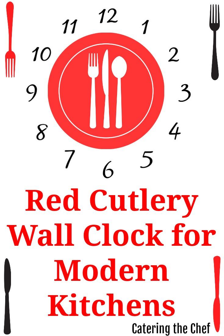 Red Kitchen Utensils Wall Clock
