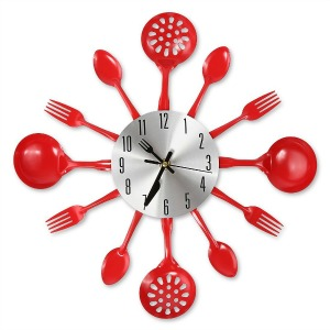 Red Kitchen Utensil Clock for Passionate Cooks